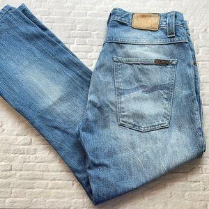 NUDIE JEANS   Men's light wash straight leg jeans